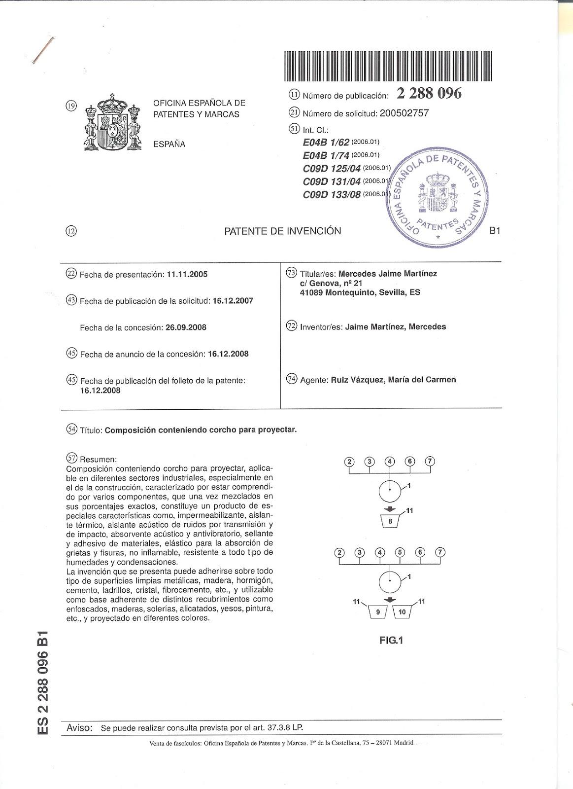 Corcho proyectado aislacork producto patentado en la for Oficina espanola de patentes y marcas