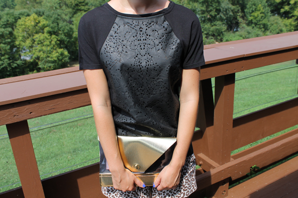 faux leather tee, leopard shorts, clear clutch