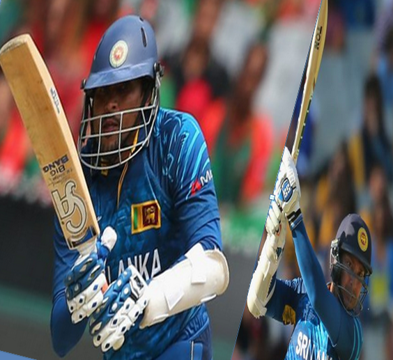 T dilshan and k sangakkara batting images