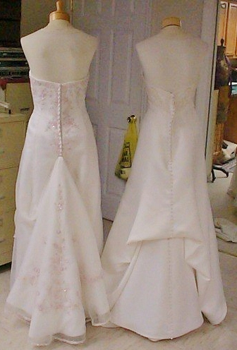 Bonnieprojects wedding dress wednesday button off for Wedding dress train bustle