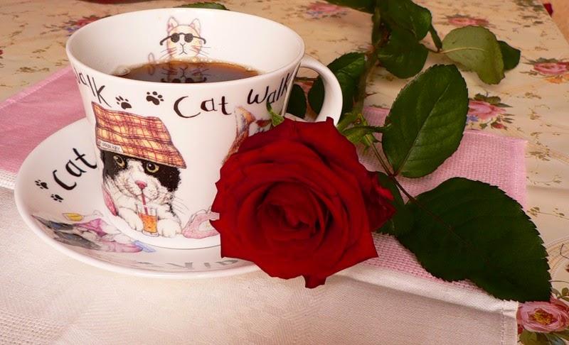 Открытка с добрым утром кофе и розы 986