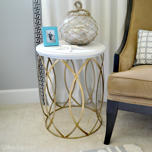 Paint a Gold and White Side Table