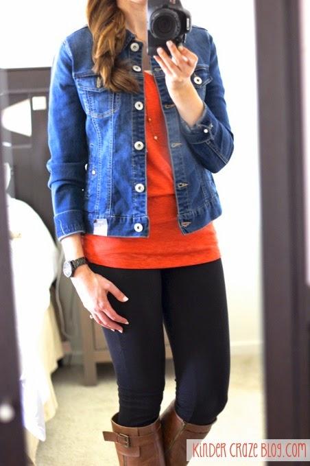 denim, orange sweater, leggings, gold necklace, brown boots = LOVE  #StitchFix