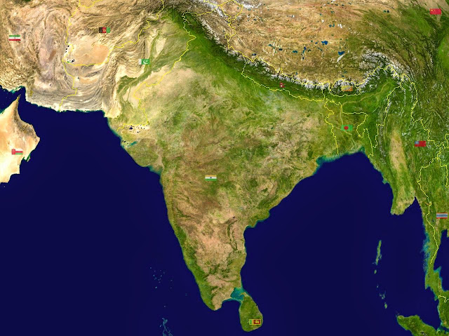 Unlabelled South Asia Physical Map