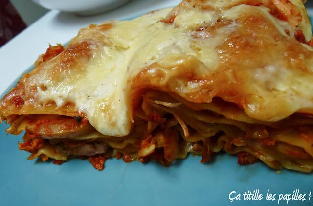 Ça titille les papilles, Lasagnes, Poulet, Champignons, Olives, Tomate, Italie, Pâtes