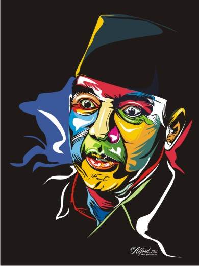 vector-sukarno-pop art-proses-cara-membuat