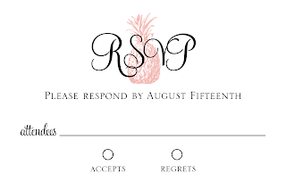 DIY Printable 4x6 Vintage Pineapple Wedding RSVP card