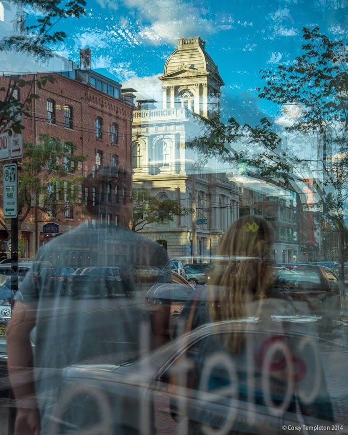 Portland, Maine August 2014 Summer Commercial Street reflections abstract in the Old Port photo by Corey Templeton