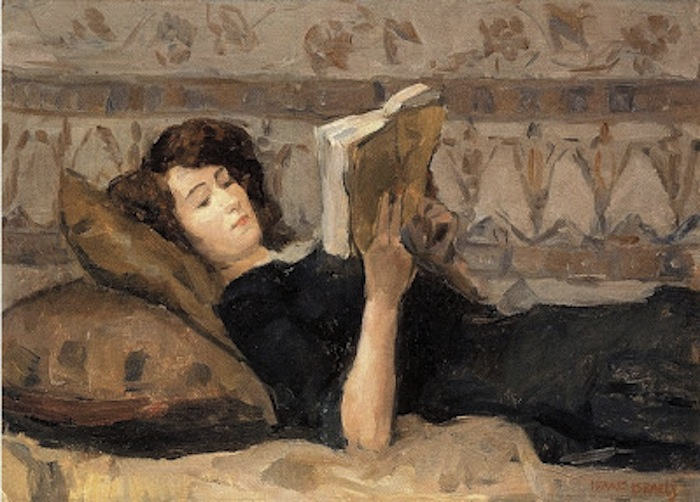Isaac Israëls. Girl Reading on the Sofa, 1920