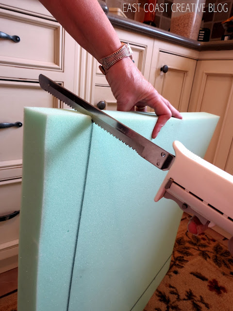 how to cut foam for an ottoman