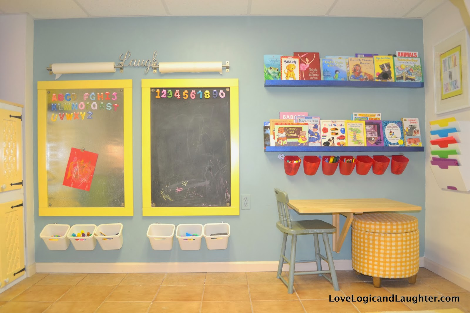 reading nook swing and wall in the playroom logic