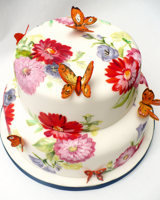 New Beautiful Cake Images : Wedding Cakes Pictures: Hand Painted Flowers, Butterflies ...