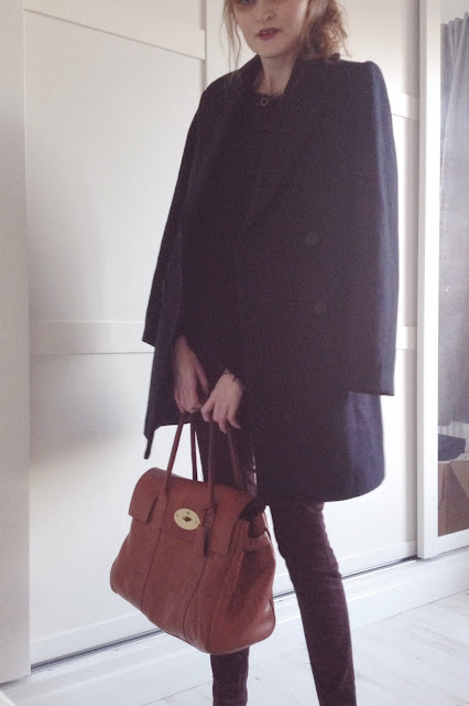 zara navy coat, burgundy h&m trousers, mulberry bayswater