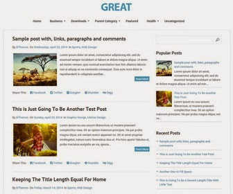 Great is a Minimal, 2 Columns, Blogger Template with Automatic Read More Feature. Great Blogger Template has Top Drop-down Navigation Menu, Social and