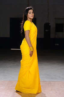 Poorna New Pictures in Yellow saree 002.jpg