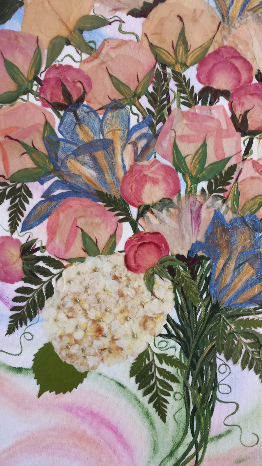 Curlyart wedding flower preservation on canvas roses irises hydrangea and peonies with fern make for a lovely flower painting izmirmasajfo