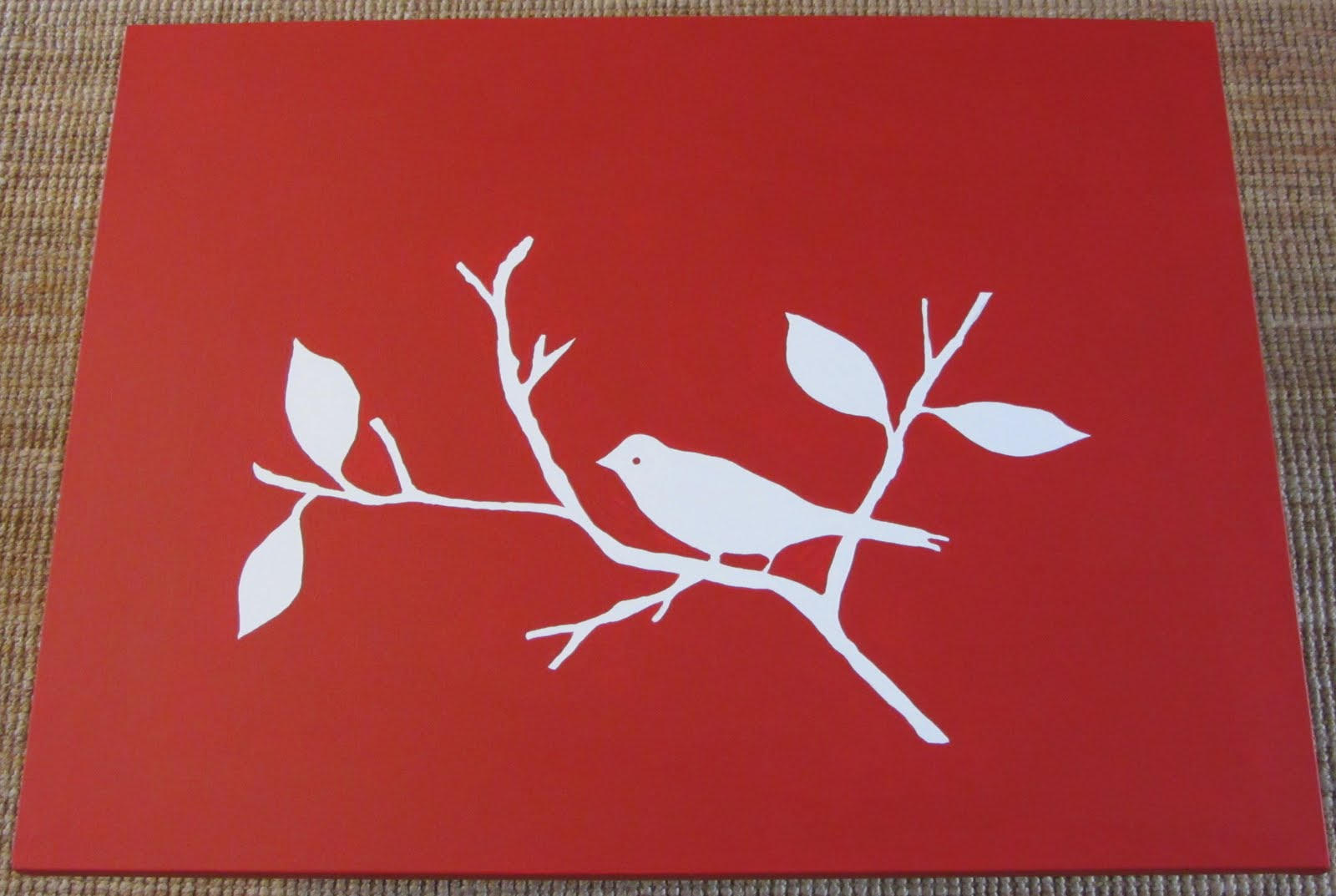 thom haus handmade simple red bird canvas