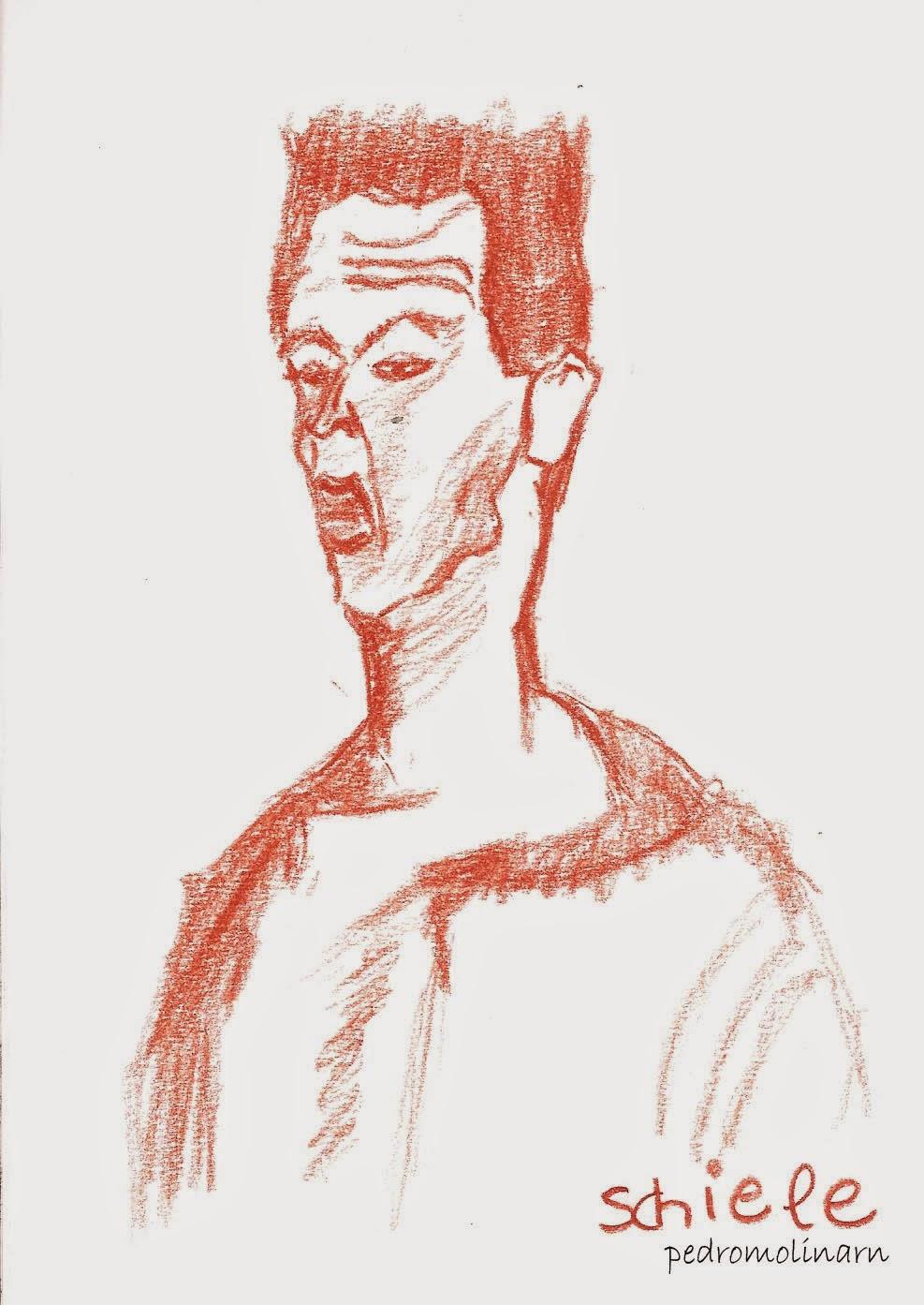 Egon Schiele, autorretrato con la expresión desfigurada