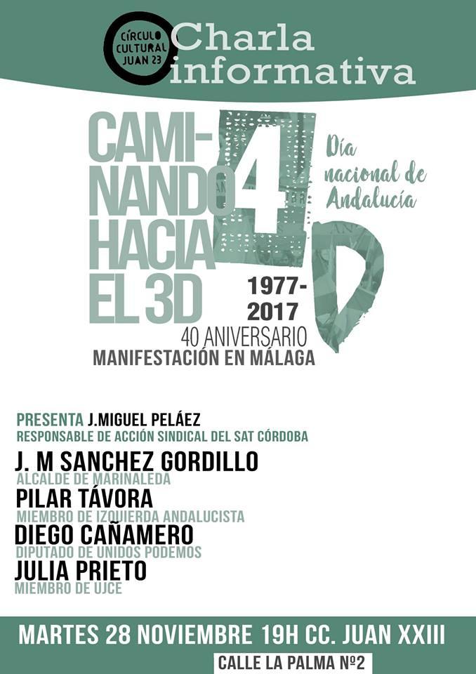 CÓRDOBA,Martes 28N.Charla Informativa:CAMINANDO HACIA EL 3D. MANIFESTACIÓN EN MÁLAGA.