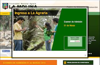 Lista de los Ingresantes Universidad Agraria La Molina UNALM 2015 domingo 1 de Marzo