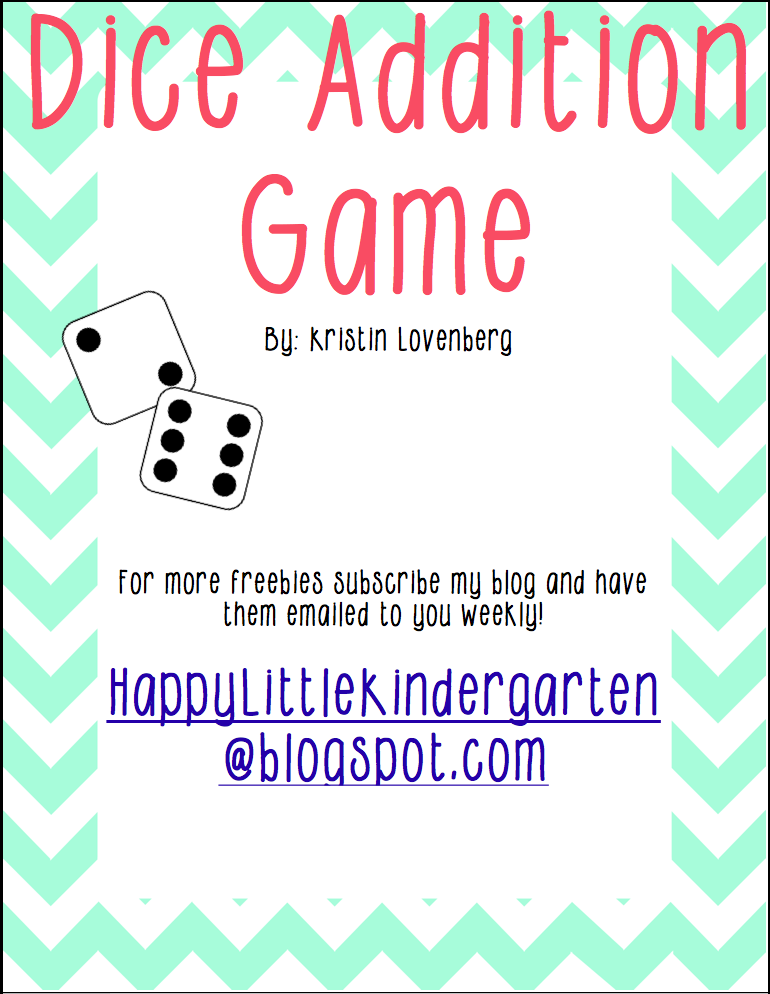 http://www.teacherspayteachers.com/Product/Dice-Addition-Game-1073253