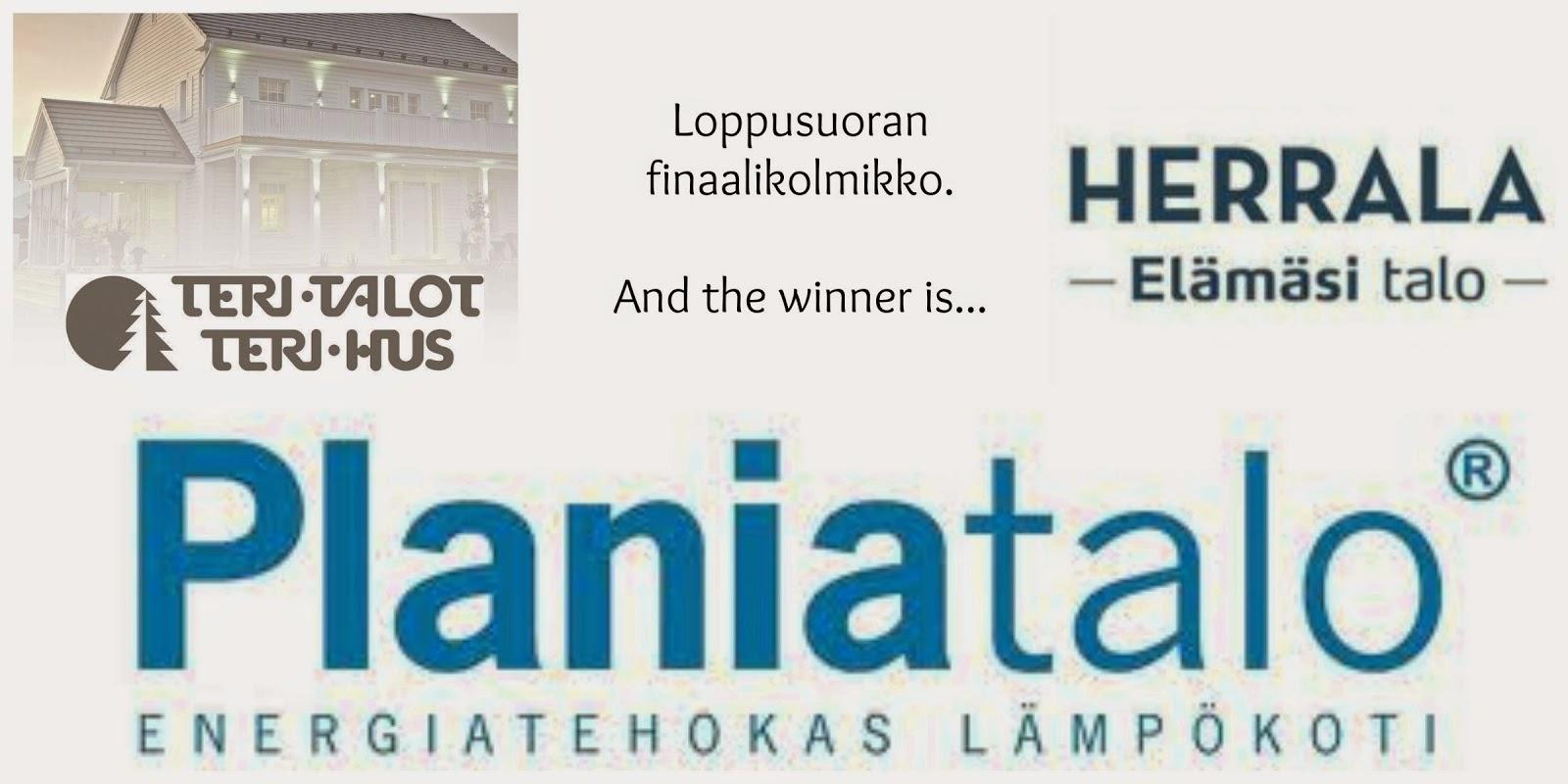 Talotoimittajakilpailutuksen finalistit: Planiatalo, Teri-Talot ja Herrala Talot