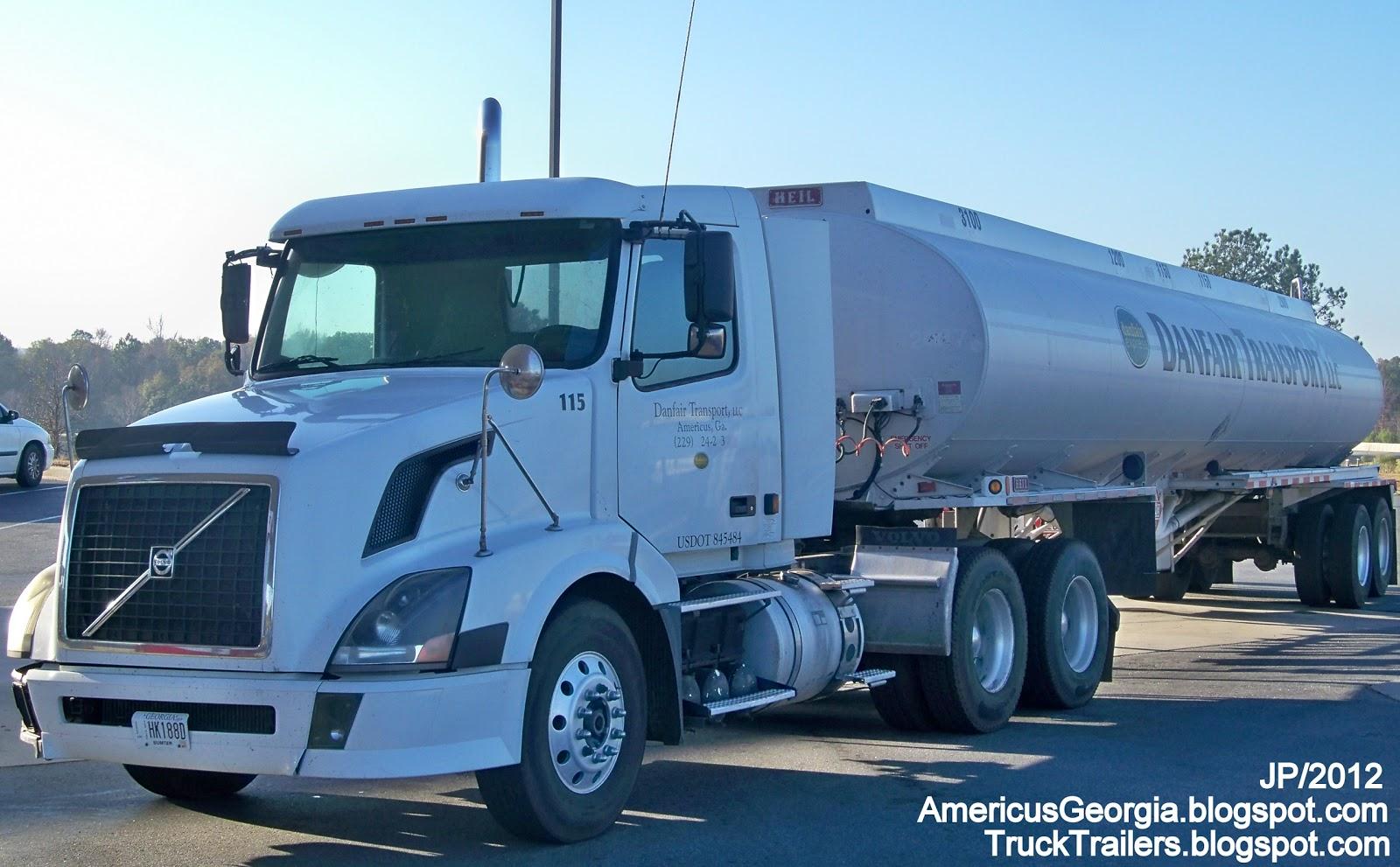 Danfair transport americus georgia volvo day cab truck heil gasoline tanker trailer danfair oil transport llc fuel trucking company americus ga