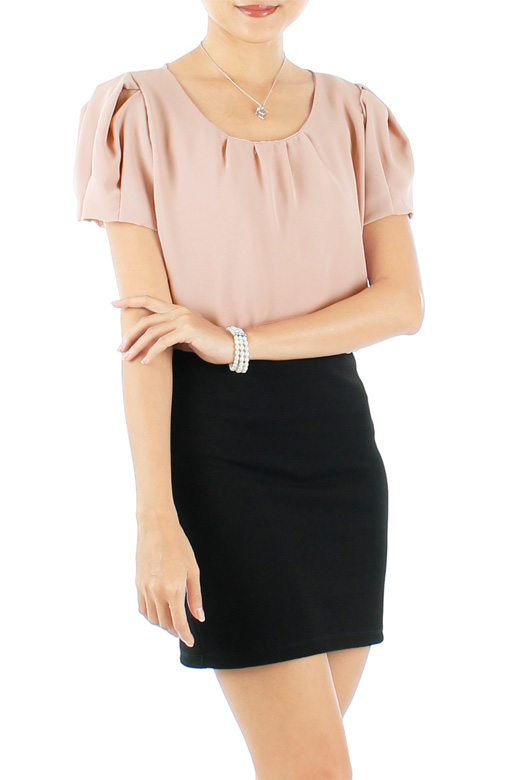 Dusky Pink Tulip Sleeve Blouse with Pleat Detail