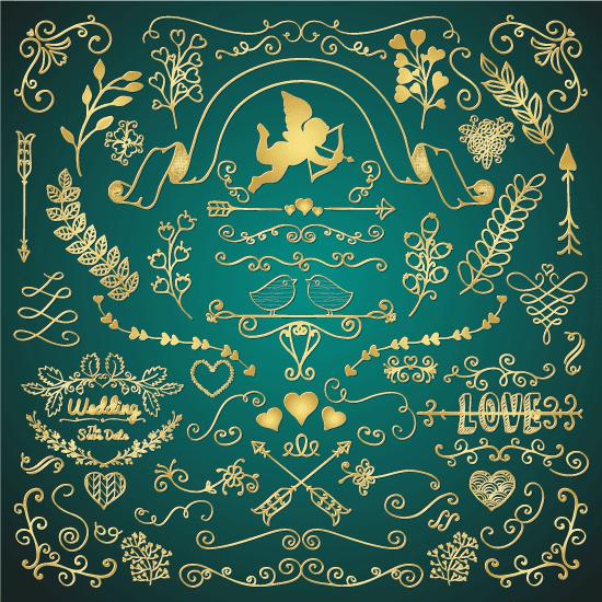 Ornamentos de San Valentín dorados 3 - vector