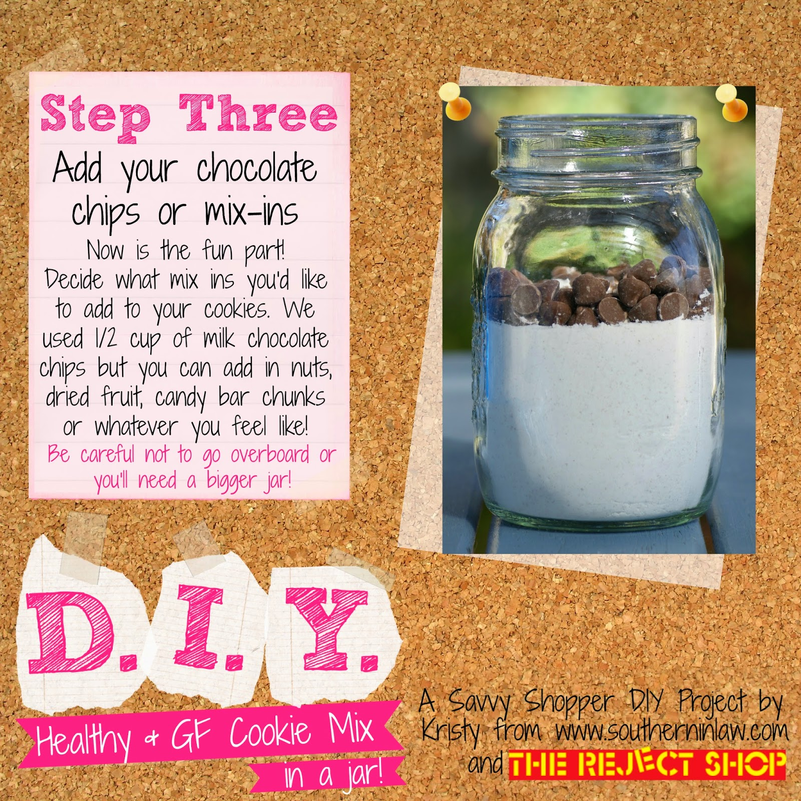 Healthy Chocolate Chip Cookie Mix in A Jar Recipe - Healthy Gift Ideas for Birthdays and Christmas - Gifts in a Jar on a Budget