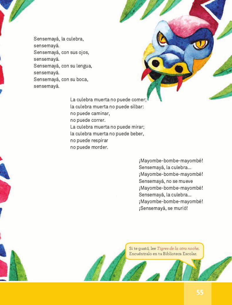 Sensemayá - Español Lecturas 4to 2014-2015
