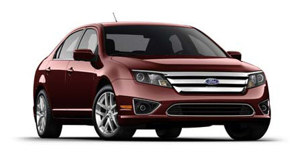 Front 3/4 view of red 2011 Ford Fusion