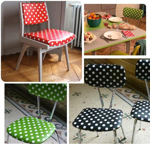 Mes trucs pois relooker vos chaises avec de la toile cir e for Relooker des chaises en paille