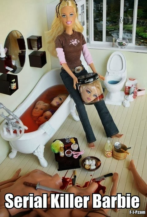 Funny Serial Killer Barbie Heads Bath Picture