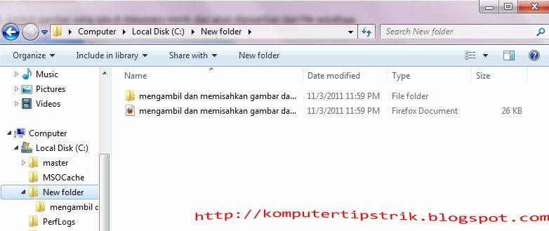 Tampil folder dan file baru