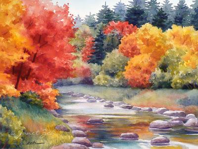 A landscape alive with autumn color.