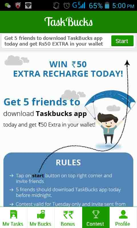 Refer Your 5 or More Friends Today and Get Rs.50 Extra Credit on Free Mobile Recharge Taskbucks