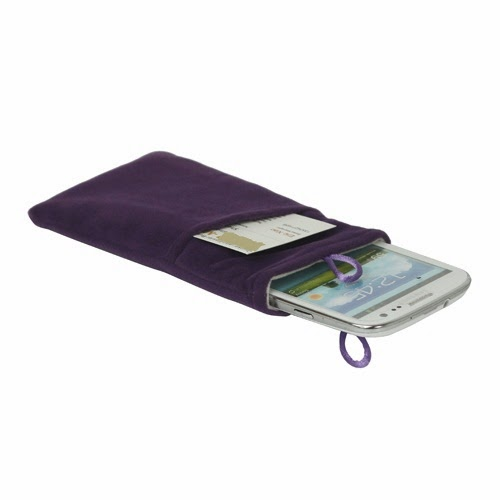 Universal Plush Pouch Bag with Button Closure for Samsung Galaxy S 3 III i9300 S 4 IV i9500 i9505, Size 13.8cm x 8.1cm - Purple