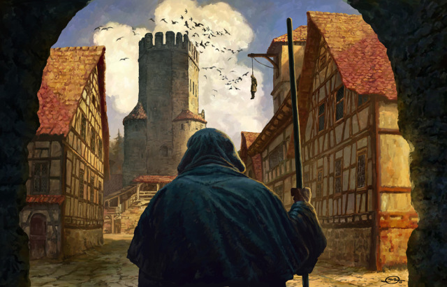 Castillo de Camelot 640x411_7647_The_inquisitor_2d_illustration_castle_medieval_monk_tower_village_inquisitor_hanged_man_picture_image