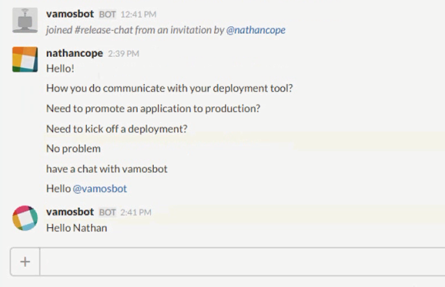 A Slack chat between nathancope and vamosbot