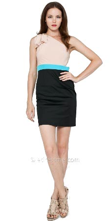 One-shoulder Colorblock Dress