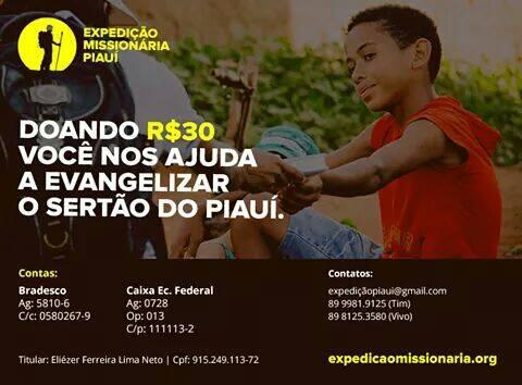 Apoie a Expedição Missionária Piauí.