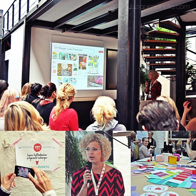 [ luzia pimpinella BLOG ] eine fotocollage mit bildern von der BLOGST blogger konferenz: anna von dawanda hält ihren vortrag über DIY blogger