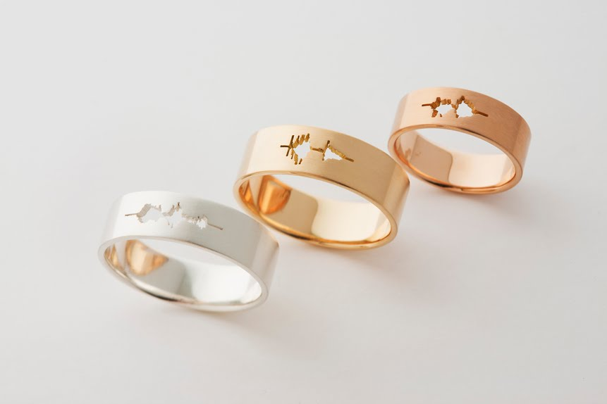waveform wedding ring flat ring - Flat Wedding Rings