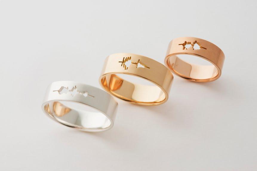 Sound wave wedding ring