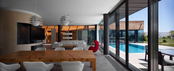 Dining room in Contemporary house in Ukraine by Drozdov & Partners
