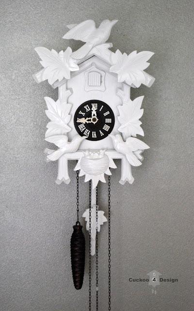 cuckoo 4 design's small white cuckoo clock