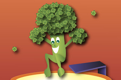 close up illustration of broccoli diving into a pool of dip