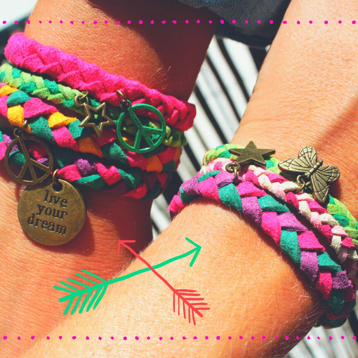 pulseras happy uky live your dream peace paz estrella mariposa