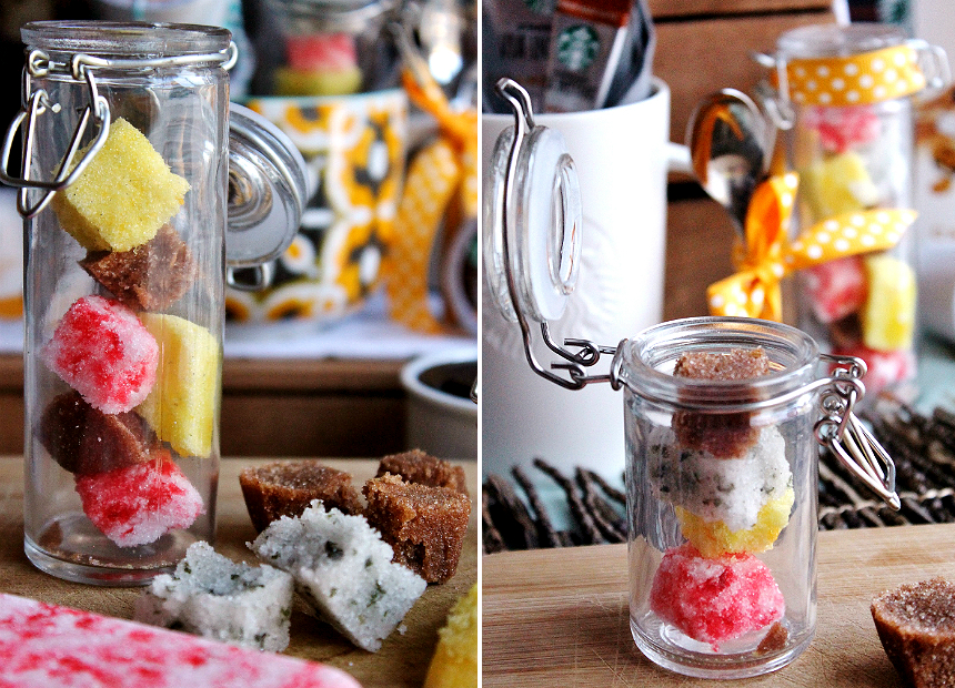 Bundle your favorite coffee in a mug with homemade sugar cubes for a seasonal gift that's sure to delight.